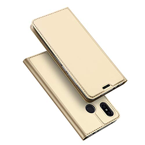 DUX DUCIS Funda Xiaomi Redmi Note 6 Pro,Flip Folio Cover,Soporte Plegable,1 Ranuras para Tarjetas,Magnético,Ultra-Delgado Carcasa para Xiaomi Redmi Note 6 Pro (Dorado)
