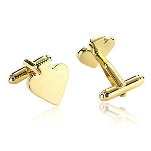 AnaZoz Joyería de Moda 1 Par Gemelos de Hombre Acero Inoxidable Forma Corazón Color Oro Gemelos Para Hombre