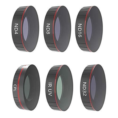TETAKE Filter 6-teilig Wert für Geld für DJI OSMO Action Cam Kamera: ND4, ND8, ND16, ND32, UV, CPL