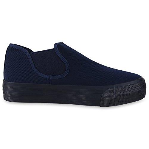 Modische Damen Sneakers | Bequeme Slip-ons| Funkelnde Glitzerapplikationen | Angesagte Plateausohle | Gr. 36-41 Blau Total