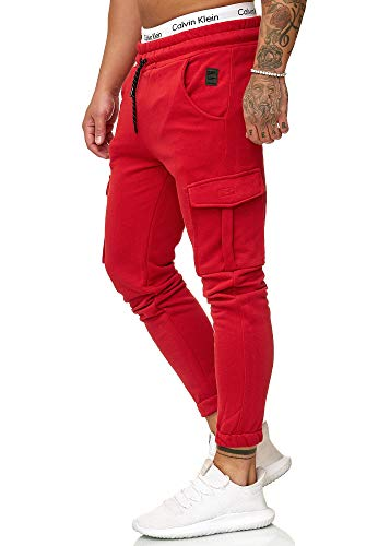 OneRedox Herren Jogging Hose Jogger Streetwear Sporthose Modell 1213 Rot M