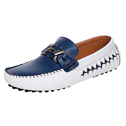 Mocassini Camoscio Uomo Eleganti Scarpe da Guida Casuale Soft Antiscivolo Piatto Scarpe da Barca Nero, Bianco, Blu Taglia 39-44