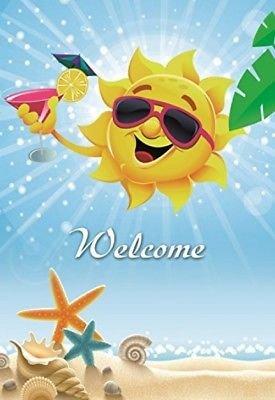 Dekorative Sun Garden Flagge Colorful Spring Summer Welcome doppelseitig 31,8x 45,7cm (Garden Flags New Jahren)