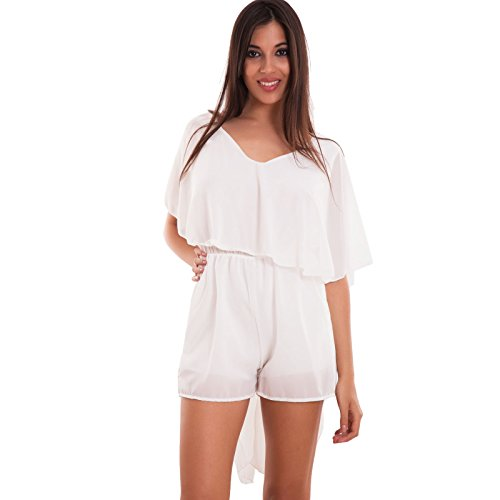 Toocool – Overall femme combinaison voile Bermuda Shorts code Sexy Nouvelle cj-2223 Bianco