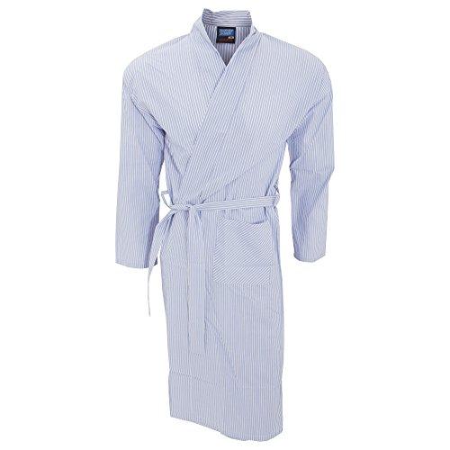 Textiles Universels Robe de Chambre légère Style Kimono - Homme (L) (Bleu Ciel rayé)