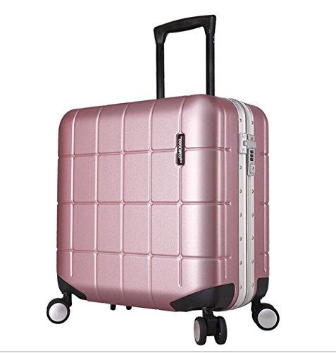 PINCHU Cuadro de cabina de ruedas con ruedas Trolley Laptop Bag Business para mujeres Hombre Maletín Carry On Roller Cases, pink, Aluminum frame