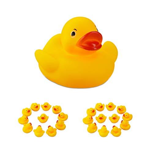 Relaxdays 24 x Badeente 5 cm, klassisches Quietscheentchen für die Badewanne, Badespielzeug für Groß und Klein, Gummiente , gelb