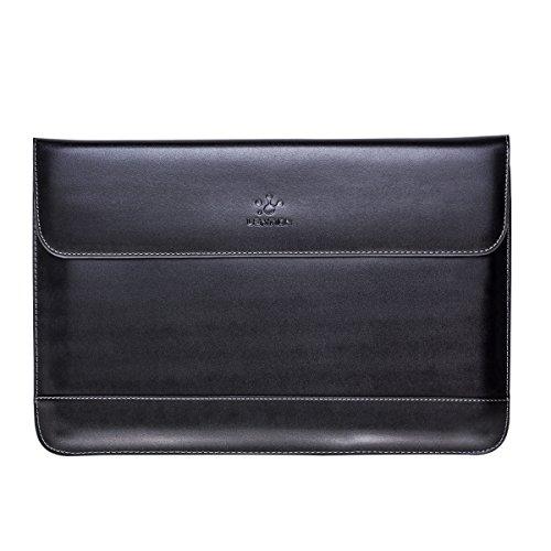 Lention Split Ledertasche für MacBook Air 11 / MacBook 12 / Surface Pro/Samsung/HP/Asus/Acer, Premium Tragetasche mit magnetischen Snaps für 11-12 Zoll Laptops und Tablets (Schwarz)