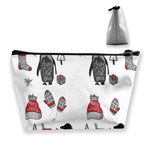 Lustige Weihnachtspinguin-Handschuh-Kappe, die Trapez-Reise-Make-upbeutel-Kosmetiktaschen 7x12x22CM tixing ist