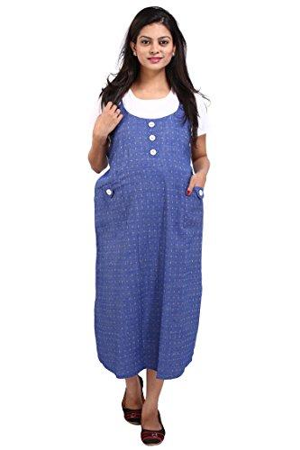 MomToBe Women's Denim Maternity Dress, Blue and White