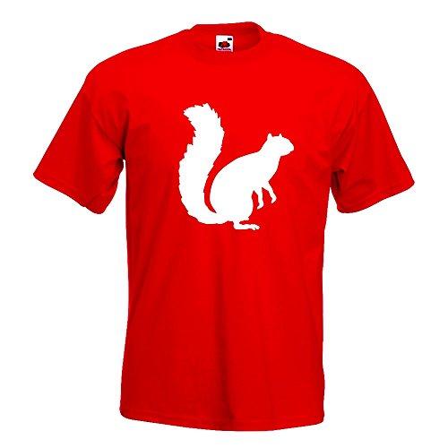 Kiwistar Eichhörnchen - Squirrel T-Shirt in 15 Verschiedenen Farben - Herren Funshirt Bedruckt Design Sprüche Spruch Motive Oberteil Baumwolle Print Größe S M L XL XXL Rot