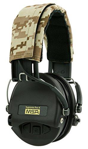 MSA Sordin Supreme Pro X Elektronischer Kapselgehörschutz | ACE-Edition (Desert Digital Camo, Schwarze Kapseln) | Aktiver Gehörschutz für Jäger und Sportschützen | Mit AUX-Anschluss