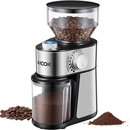 Aicok kaffeemühle 200w elektrische kaffeemühle edelstahl 18 einstellungen grob bis fein 14 tassen 250g kapazität kaffeebohnen nüsse gewürze getreidemühle mit edelstahlmesser