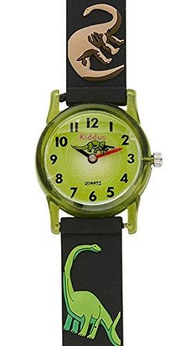 Kinder Armband Uhr für Junge mit Dinosaurier, wasserfest (3 ATM), hohe Qualität Quarz Mechanismus Seiko, Batterie Sony, in Geschenk-Box, Kiddus RE0259