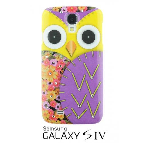 OnlineBestDigital - Samsung Galaxy S4 IV I9500 / I9505 Peinture de hibou TPU rigide affaire avec Rhinestone de diamant / Couverture / Shell - Rouge avec 3 Protecteur d'écran et un stylet Violet avec 3 Protecteur d'écran et un stylet