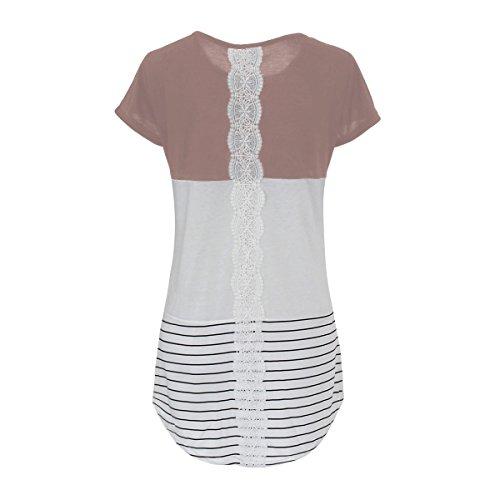 Mena UK Art- und Weisefrauen lose Art runder Ansatz Streifen, der langes Hülsen-T-Shirt näht Braun