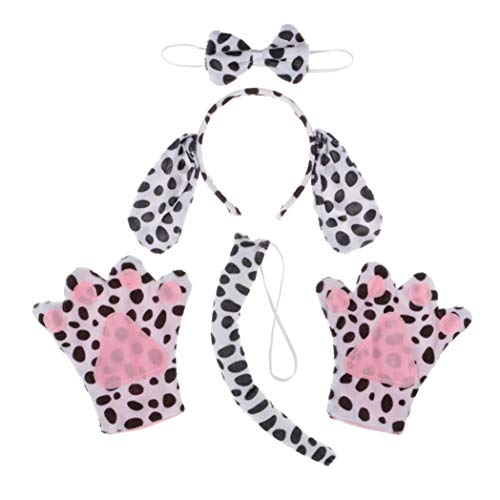 Dalmatiner Hund Tier Handschuhe Stirnband Schleife Schwanz Kinder Kit Set Kostüm Zubehör