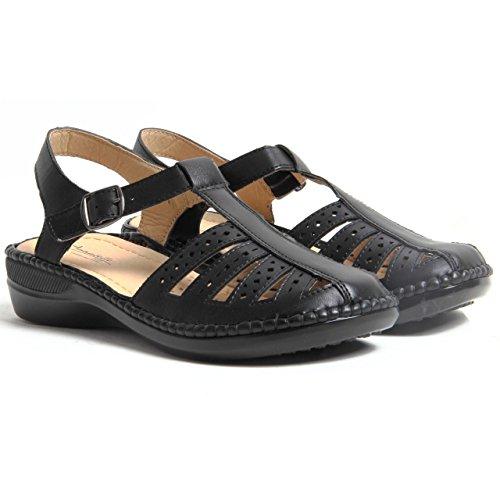 Femme à Boucle talon compensé en Simili Cuir Confortable Chaussures d'été pour femme Noir