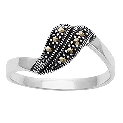 Silverly Frauen 925 Sterling Silber Markasit Simulierte Art Deco Stil Swirl Ring