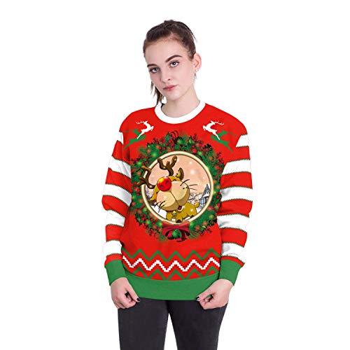 Damen Herren Sweatshirt Hoodies 2018 Europäische Und Amerikanische Erwachsene Weihnachtsmann Rundhals Langarm-Print Pullover, XL, Weihnachten Hirsch