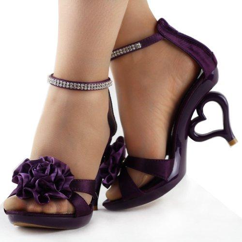 Mostra Story 20 colori dei fiori removibile cinturino alla caviglia sposa sandali scarpe da sposa, SM33101 Viola scuro