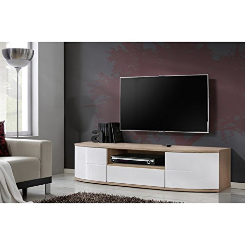 Meuble TV - Blanc et acacia - 150 x 43 x 48 cm