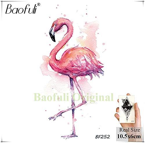 BRT Aquarell Gefälschte Flamingos Temporäre Tattoo Aufkleber Kolibri Drachen Fliegen Gefälschte Tatos Wasserdichte Körper Kunst Waffe Tattoo (2 Packungen) BBF252