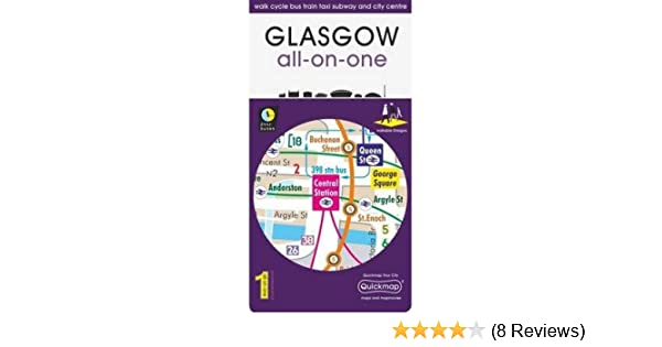 Glasgow All-On-One Map: Walk Cycle Bus Train Taxi Subway and City