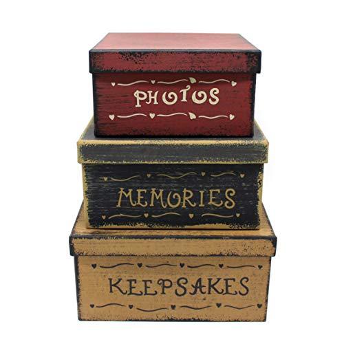 Cvhomedeco. primitive vintage square foto, ricordi, ricordi cartone scatole, 22,9 x 22,9 x h11,4 cm & 2 0, 3x 20,3x h10,2 cm & 17,8 x1 7,8 x h8,9 cm, set di 3.