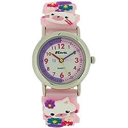 Ravel Time Teacher 3D My Little Kitten Pink Rubber Strap Girls Watch R1513.66