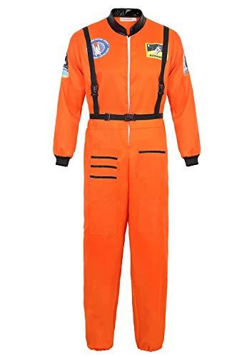 aizen Astronauten Kostüm Erwachsene Herren Kostüm Astronaut Weltraum Raumfahrer Halloween Cosplay Orange XL (Erwachsene Orange Astronaut Kostüme)