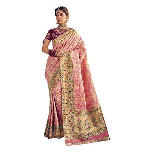 Banarasi 8167 Damen Bluse aus Seidenjaquard-Seide, indische Hochzeit, Zari Sari, Muslim -