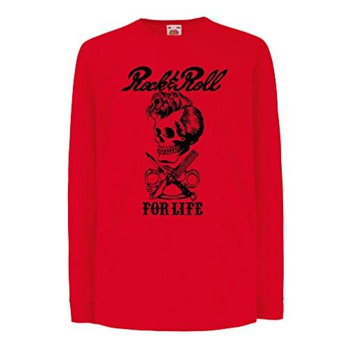 T-Shirt Bambini/Ragazze Rock And Roll for Life - Anni '60, 70, 80 - Band Rock Vintage - Musicamente - Abbigliamento da Concerto (5-6 Years Rosso Multicolore)
