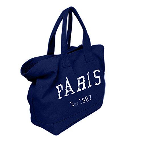 FakeFace Retro Umhängetasche Handtasche Tragetasche Einkauftasche Canvas Damen Reisetasche Schultasche Beuteltote Tasche Blau