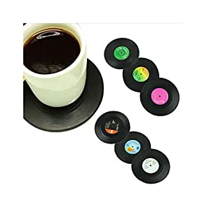 ds witzige untersetzer 6 st ck schallplatten vinyl lp platte teller unterteller tasse becher. Black Bedroom Furniture Sets. Home Design Ideas