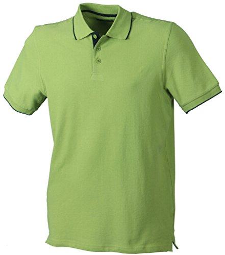 JAMES & NICHOLSON Elegantes Poloshirt mit Kontraststreifen Grass/Navy