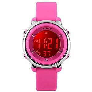 Kinder Digitaluhren für Mädchen Geschenke – 5 Bars wasserdicht Outdoor Sportuhr mit 7 LED-Hintergrundbeleuchtung/Wecker/Stoppuhr, Elektrische Armbanduhr für Teenager Kinder von VDSOW