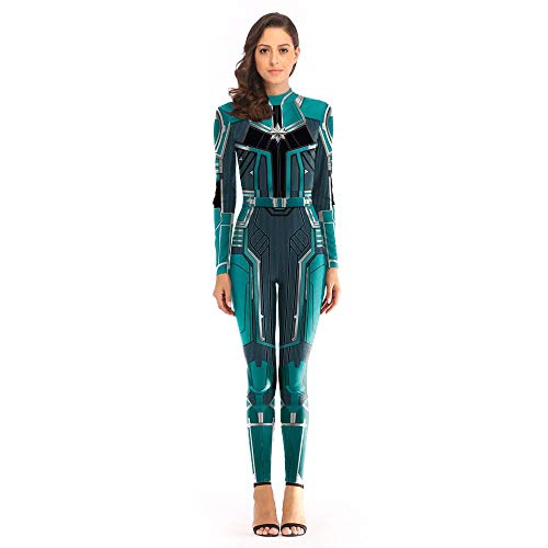 YXRL Frau Marvel Kostüm Überraschung Captain Lady Superheld Kostüm Polyester Enge Halloween Cosplay Kostüm Green-XL
