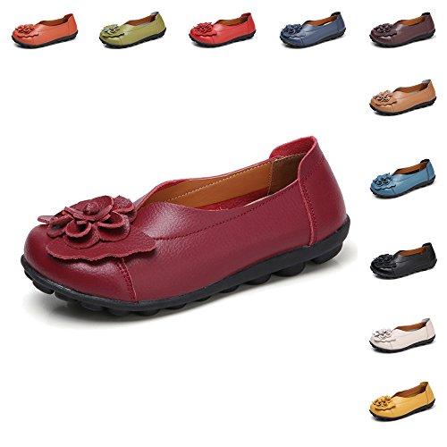 Gaatpot Damen Blumen Mokassins Atmungsaktiv Leder Bootsschuhe-Loafers, Wein Rot, Gr.- 41.5 EU/ Herstellergröße- 43