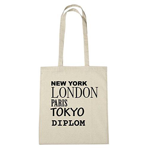 JOllify Diploma Borsa di cotone b6099 schwarz: New York, London, Paris, Tokyo natur: New York, London, Paris, Tokyo