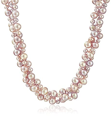 Sterling Silver 4-8mm Pink Freshwater Cultured High Luster Pearl Twisted 3-rows Necklace, 18