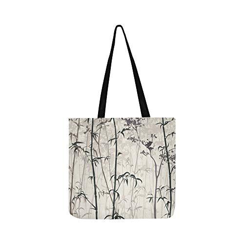 Bambus Wald Traditionelle Chinesische Kalligraphie Kunst Leinwand Tote Handtasche Umhängetasche Crossbody Taschen Geldbörsen Für Männer Und Frauen Einkaufstasche -