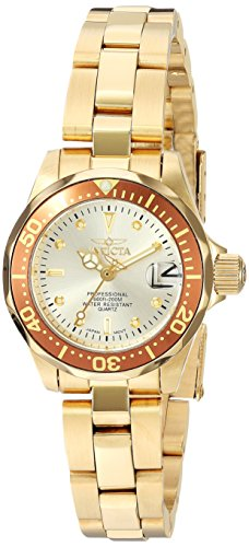 Invicta Women's Pro Diver Quartz Watch with Beige Dial Analogue Display and Gold Plated Bracelet 12527