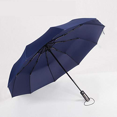 ShAwng Large Full Automatic Folding Umbrella Kommerzielle Kompaktschirme Windproof Black Umbrellas Rain Gear <br/> <br/> -Navy Blue