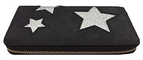 Damengeldbörse Star XL schwarz/Silber großes Portemonnee für Frauen und Mädchen mit glitzernden Sternen