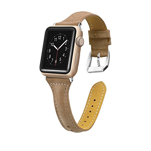 vilavida Compatible Strap for Apple Watch Iwatch Series 4 44mm, Series 3 / 2 / 1 42mm, Slim Replacement Strap Genuine Leather Band Women Men with Safe Metallic Buckle