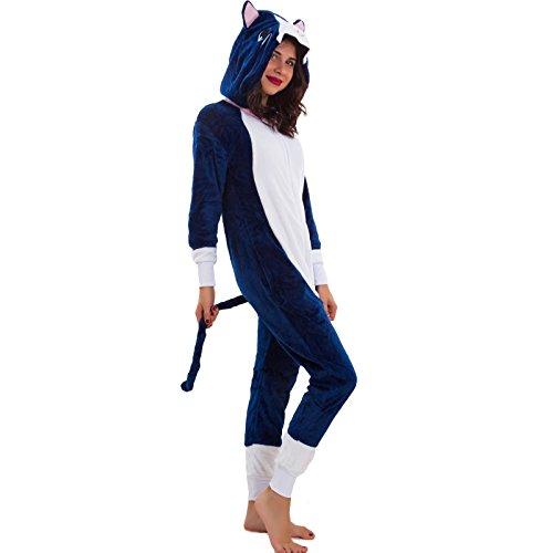 Toocool - Pigiama donna ecopelliccia kugurumi monopezzo ORSO GATTO UNICORNO nuovo L1725 Blu scuro