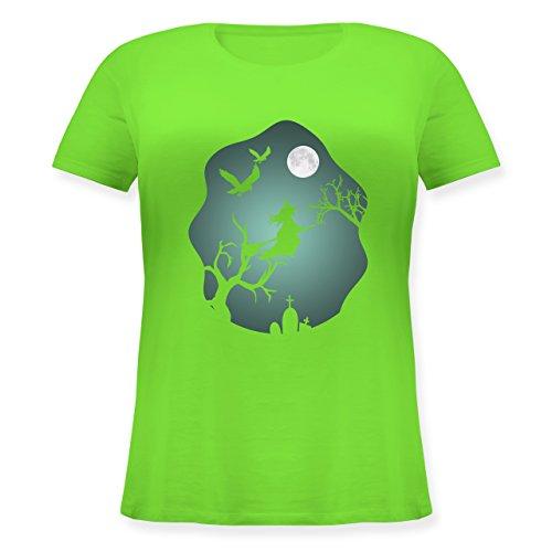 Halloween - Hexe Mond Grusel Grün - L (48) - Hellgrün - JHK601 - Lockeres Damen-Shirt in großen Größen mit Rundhalsausschnitt (Uk Halloween-grabsteine Große)