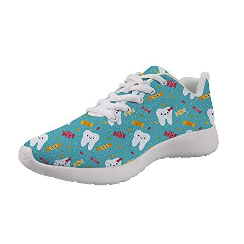 Agroupdream Turnschuhe Damen Leichte Laufschuhe Freizeitschuhe Atmungsaktive Sportschuhe Sneakers Fitnessschuhe,Dental Dentist.Blau 36