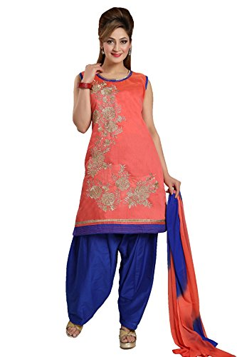 IDHA Chanderi Embroidery Ethnic Stitched Suits for Women - Orange / Blue